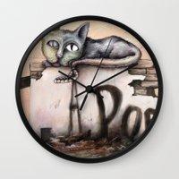 edgar allan poe Wall Clocks featuring Edgar Allan Poe by Andreas Derebucha