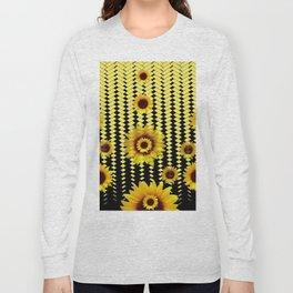 YELLOW SUNFLOWERS BLACK ABSTRACT PATTERNS ART Long Sleeve T-shirt