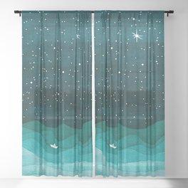 Starry Ocean, teal sailboat watercolor sea waves night Sheer Curtain