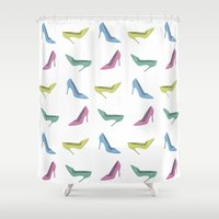 heels Shower Curtains featuring high heels by Anastasiya Zhulina