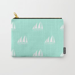 White Sailboat Pattern on seafoam blue background Carry-All Pouch