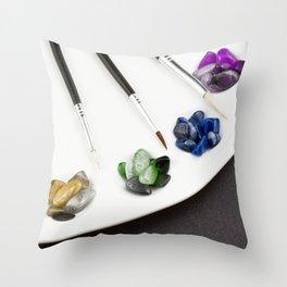 Colorful Palette Pebbles Throw Pillow