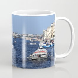 Boats Traffic on Neva River near Trinity Bridge. Coffee Mug