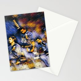 African American Classic Tommie Smith and John Carlos Black Power Olympic Protest Portrait Stationery Cards