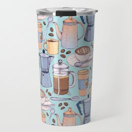Coffee Love on Blue Travel Mug