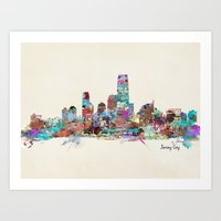 new jersey Art Prints featuring jersey city new jersey skyline by bri.buckley