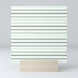 Moss Green and White Mattress Ticking Wide Striped Pattern Mini Art Print