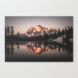Alpenglow - Mountain Reflection - Nature Photography Canvas Print