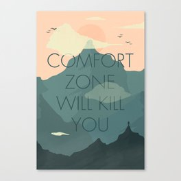 Comfort zone quote, mountains lover, free climbing, inspirational wall art, motivational quotes, Canvas Print
