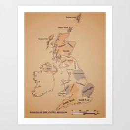 Regions of the United Kingdom vintage map Art Print