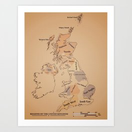 Regions of the United Kingdom vintage map Art Print