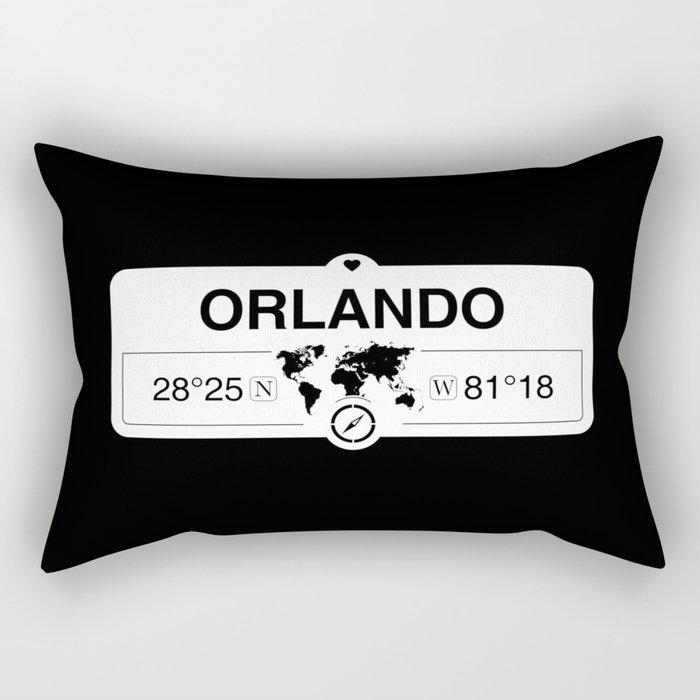 Orlando Florida Map GPS Coordinates Artwork with Compass Rectangular Pillow