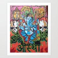hindu Art Prints featuring Hindu God by Vic Piano