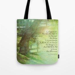 Serenity Prayer Trees, Water, Bridge Tote Bag