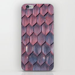 Weathered colorful wood paneling close front view iPhone Skin