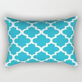 Arabesque Architecture Pattern In Cerulean Blue Rectangular Pillow