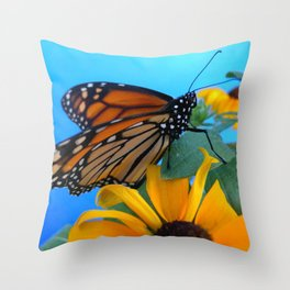 Monarch Butterfly on Black-Eyed Susan Throw Pillow