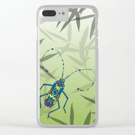 Insect Bamboo leaves Green Unique Pattern Clear iPhone Case