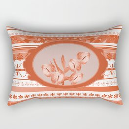 Anthurium ind Frame - Coral Stripes background Rectangular Pillow
