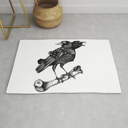 Two headed crow & Bone illustration Rug