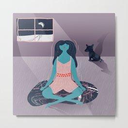 Black Dog Meditation Metal Print