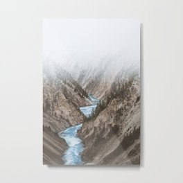 MOUNTAINS - RIVER - BLUE Metal Print