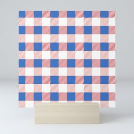 Pink and Blue Country Plaid Design Mini Art Print