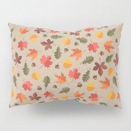 Autumn Leaves Pattern Beige Background Pillow Sham