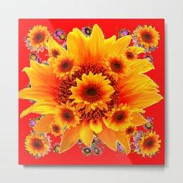 Red & Yellow Sunflower Art Metal Print