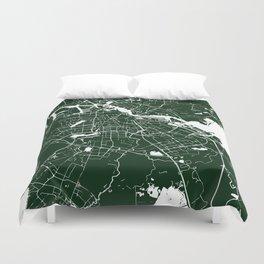 Amsterdam Green on White Street Map Duvet Cover