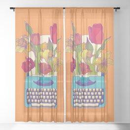 Flowering words Sheer Curtain