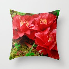 Fallen camellias Throw Pillow