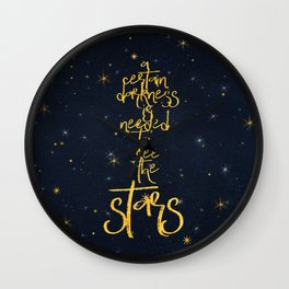 Darkness-Stars - sparkling night gold glitter effect typography on #Society6 Wall Clock