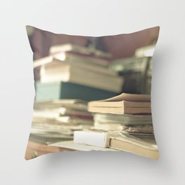 Pile of books  (Retro and Vintage Still Life Photography) Throw Pillow