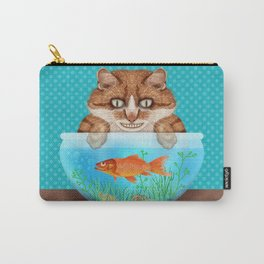 Cat with Goldfish Bowl Whimsical Kitty and Fish Carry-All Pouch