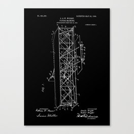 Wright Brothers Patent: Flying Machine - White on Black Canvas Print
