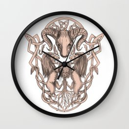 Bighorn Sheep Lion Tree Coat of Arms Celtic Knotwork Tattoo Wall Clock