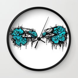 If I Could hide your eyes - blue version Wall Clock