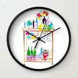 Watercolour Bar Cart Wall Clock