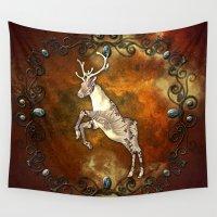 reindeer Wall Tapestries featuring Reindeer by nicky2342