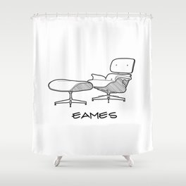 Mid-Century - Eames Lounge Chair Sketch (BN) Shower Curtain
