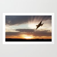 returns Art Prints featuring Canberra Returns by Airpower Art