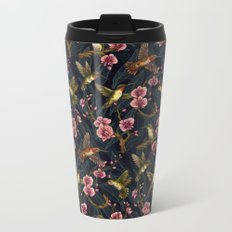 Hummingbird Pattern Metal Travel Mug