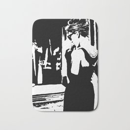 Audrey Hepburn in movie Breakfast at Tiffany's. Black and white portrait, monochrome stencil art Bath Mat