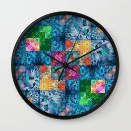 High Definition Geometric Quilt 1 Wall Clock