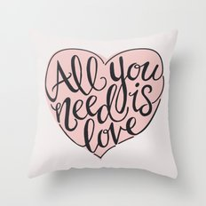 All You Need Is Love - Grey Throw Pillow