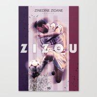 zidane Canvas Prints featuring Zinedine Zidane (Zizou) by NaniGraphics
