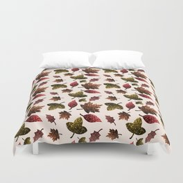 Sparkly leaves fall autumn sparkles pattern Duvet Cover