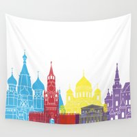 moscow Wall Tapestries featuring Moscow skyline pop by Paulrommer