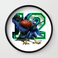 seahawks Wall Clocks featuring 12thMan by Dreamstate Design